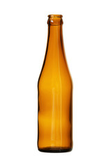 Brown Beer Bottle isolated on white background clipping path