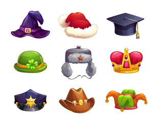 Cartoon different hat icons set.