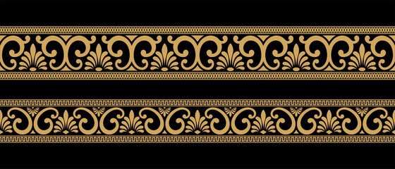 Set of seamless vintage Greek ornament. Golden pattern on a black background.