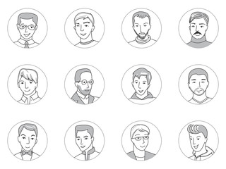 Men avatar set thin line vector