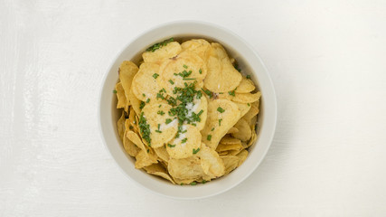 Potato fried snack have onion and salt