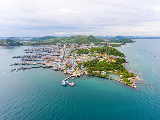 Aerial Shot of Beautiful  Fisherman Village and Pier