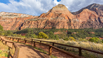 Scenic view of the canyon. The rays of the sun illuminate the canyon.  Zion National Park, Utah, USA