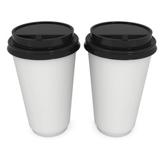 Disposable coffee cups. Blank paper mug with plastic cap. 3d render isolated on white background