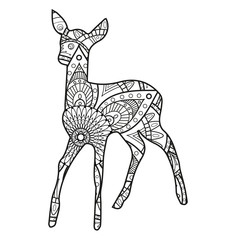 Vector illustration of a black and white deer mandala for coloring book, capriolo mandala in bianco e nero da colorare vettoriale