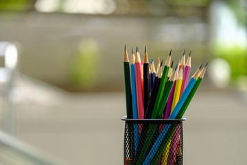 Color pencils in box.
