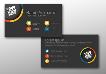 Dark Gray Business Card Layout