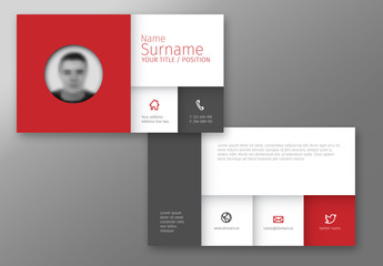 Grid Style Business Card Layout with Red Accent