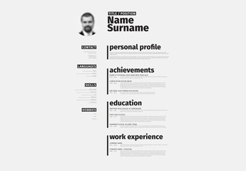 Black and White Minimalist Resume Layout