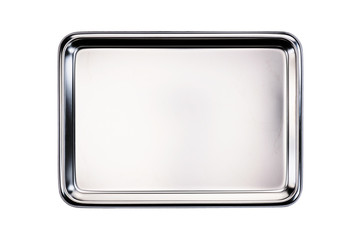 Stainless tray / Stainless tray on white background. Top view. Wall mural
