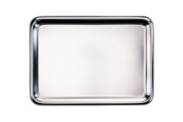 Fototapeta Stainless tray / Stainless tray on white background. Top view. obraz