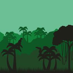 jungle tropical landscape icon vector illustration design