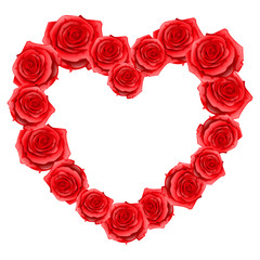 Heart frame of red realistic roses. Happy Valentine day greeting card