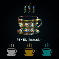Coffee cup - pixel illustration.