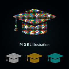 Graduation - pixel illustration.