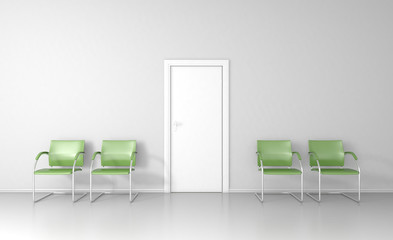 Waiting room with white door and four green chairs