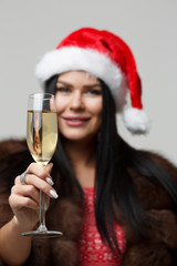 Christmas woman with champagne glass