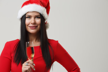 Girl in dress at Christmas