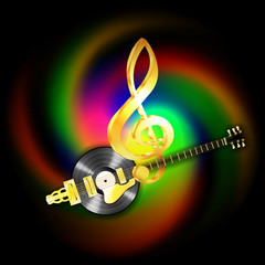 Bright glowing musical string jazz guitar and vinyl records. Image executed with a black background and can be used with any text or image.