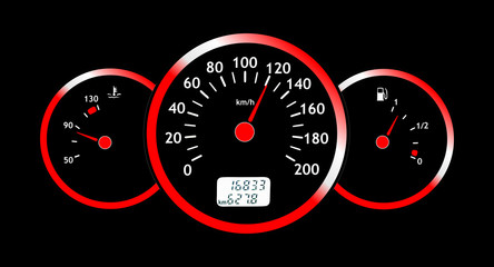 Glowing car dashboards in black and red colors