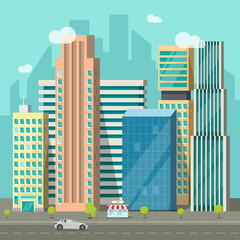 Cityscape vector illustration, flat style city buildings near road and promenade area, modern big skyscrapers town, urban street landscape