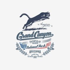 Горный Лев, Пума, Национальный парк Гранд-Каньон, иллюстрация, вектор, синий цвет