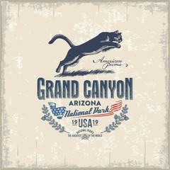 Горный Лев, Пума, Национальный парк Гранд-Каньон, иллюстрация, вектор, винтаж