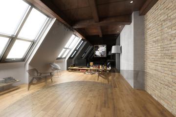 Obraz Apartment im Dachausbau (Plan) - fototapety do salonu