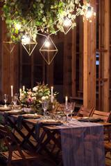 Decoration festive table before a banquet.