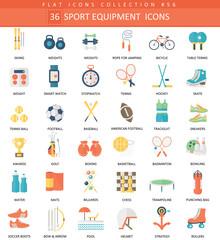 Vector Sport equipment color flat icon set. Elegant style design Sport equipment web icon.