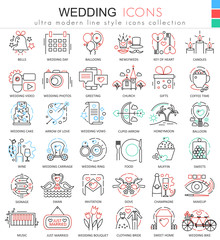 Vector Wedding color line outline icons for apps and web design. Wedding icons.