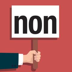 Panneau Non - mot - voter - réponse