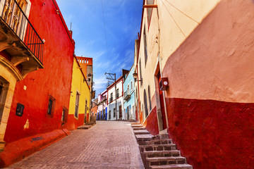 Many Colored Red Yellow Houses Narrow Street Guanajuato Mexico