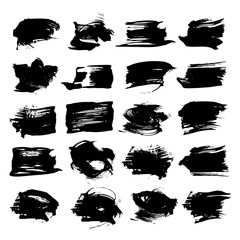 Abstract textured strokes black paint isolated on a white backgr