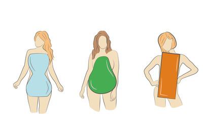 type women figure. Pear, Rectangle, Hourglass. vector illustration