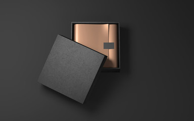 Square Black Box with golden wrapping paper and label. 3d rendering