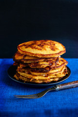 Stack of golden pancakes