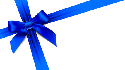 greeting card with realistic blue bow on white background