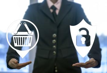 Security protection store shopping navigation web computer online business concept. Basket shield lock safety online buy internet shop market technology