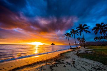 Beautiful sunrise at Chinaman's Hat on Oahu