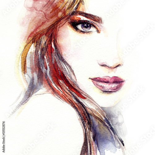 """Abstract woman face. Fashion illustration. Watercolor ..."