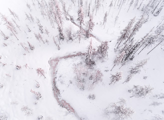Drone image of snow covered landscape, Finland