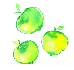 pop color three little apples in decorative simple watercolor st