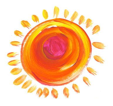 pop color funny kid-style sun made with acrylic paint. hand draw
