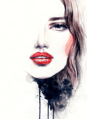 Fototapete - Abstract woman face. Fashion illustration. Watercolor painting
