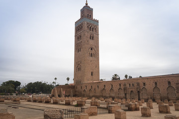 The famous Koutoubia Mosque in Marrakesh in Morocco can be seen from almost everywhere in the city