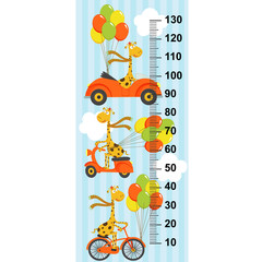 giraffe flies in sky on  bicycle, car, scooter(in original proportions 1:4) - vector illustration, eps