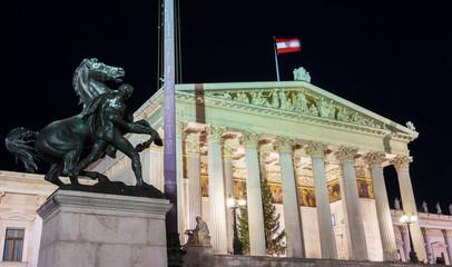 The Austrian Parliament at night, Vienna.