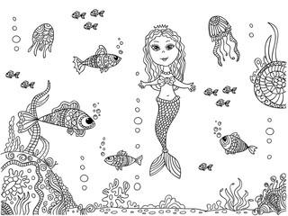 Mermaid at sea bottom.
