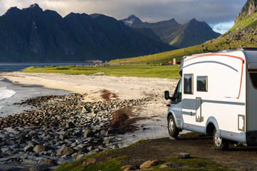 Caravan car on Norway beach, Lofoten
